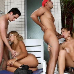 TS Annie Lee Enjoys Her First Orgy